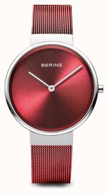 Bering Damskie   klasyczny   bransoletka z czerwonej siatki ze stali powlekanej pvd 14531-303