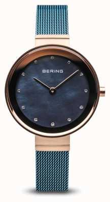 Bering Damskie | klasyczny | niebieska siatka stalowa powlekana pvd 10128-368