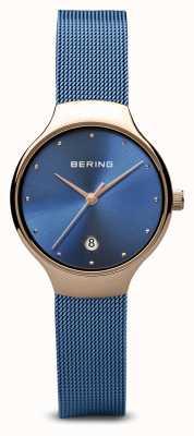 Bering Damskie | klasyczny | niebieska bransoleta z niebieskiej siatki powlekana pvd 13326-368