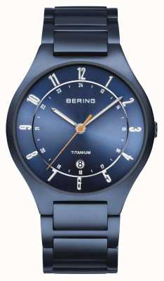 Bering Męskie | tytan | niebieska tarcza | niebieska bransoletka 11739-797