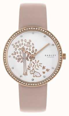 Radley | damskie nagie skóry | biała tarcza drzewa | oprawa kryształu RY2836