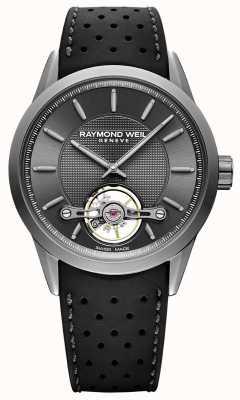 Raymond Weil Mężczyźni | automatyczna szara tarcza freelancer | czarny gumowy pasek | 2780-TIR-60001