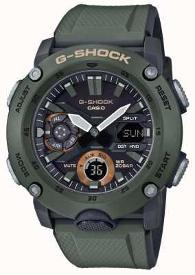 Casio | G-shock węglowa osłona rdzenia | zielony pasek z gumy | GA-2000-3AER