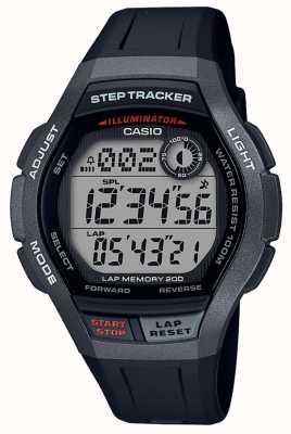 Casio | zegarek sportowy, krokomierz | czarny pasek z gumy | WS-2000H-1AVEF