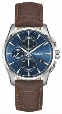 Hamilton | jazzmaster auto chronograph | niebieska tarcza | brązowa skóra | H32586541