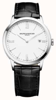Baume & Mercier | męskie klasy | czarny skórzany pasek | biała tarcza | M0A10323
