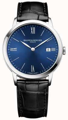 Baume & Mercier | męskie klasy | czarny skórzany pasek | niebieska tarcza | M0A10324