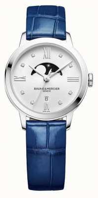 Baume & Mercier | damskie classima | niebieska skóra | srebrna tarcza z fazami księżyca | M0A10329