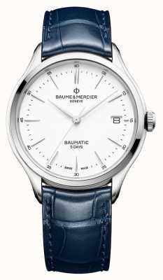Baume & Mercier | męskie clifton | baumatic | niebieska skóra | biała tarcza | BM0A10398