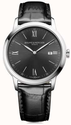 Baume & Mercier | męskie classima | czarna skóra | szara tarcza | BM0A10416