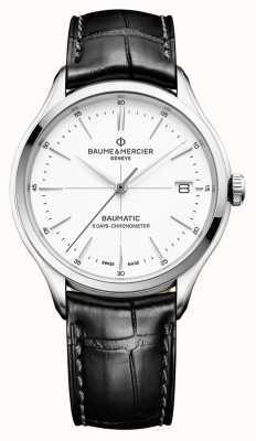 Baume & Mercier | męskie clifton | baumatic | czarna skóra | biała tarcza | BM0A10436