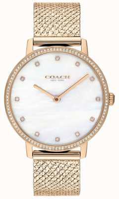 Coach | damskie | audrey | siatka pvd z różowego złota | tarcza z pereł | 14503360