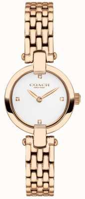 Coach | damskie | chrystie | bransoletka pvd z różowego złota | biała tarcza | 14503392