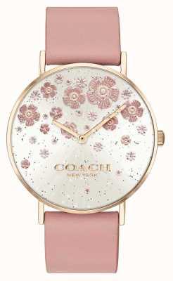 Coach | perry | różowo-skórzany pasek | brokatowa tarcza w kwiaty | 14503325