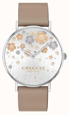 Coach | perry | kamienny skórzany pasek | brokatowa tarcza w kwiaty | 14503326