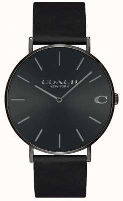 Coach | męskie | Charles | czarny skórzany pasek | czarna tarcza | 14602434
