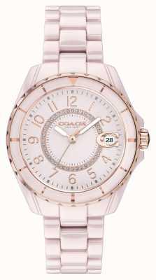 Coach | damskie | Preston | różowa bransoletka ceramiczna | różowa tarcza | 14503463