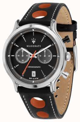 Maserati | wyścigi epoca 42mm | czarny skórzany pasek | czarna tarcza | R8851138003