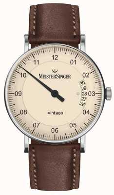 MeisterSinger | męskie vintago | automatyczny | brązowa skóra | kremowa tarcza | | VT903