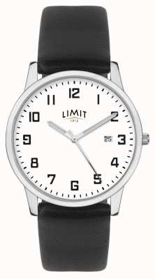 Limit | męski czarny skórzany pasek | srebrno-biała tarcza | 5741.01