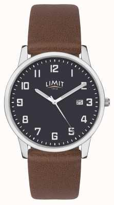 Limit | męski brązowy skórzany pasek | niebieska tarcza | 5743.01