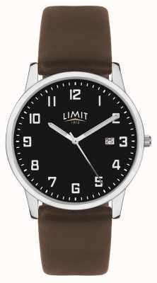 Limit | męski skórzany pasek z ciemnego brązu | czarna tarcza | 5744.01