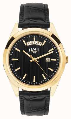 Limit | męski czarny skórzany pasek | czarna tarcza | złota skrzynka | 5750.01