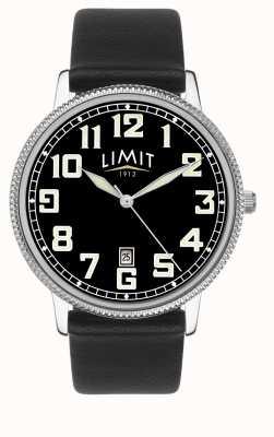 Limit | męski czarny skórzany pasek | czarna tarcza | 5747.01