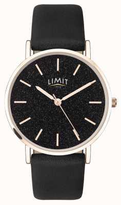 Limit | tajny ogród damski | czarny skórzany pasek | czarna tarcza | 60045.73