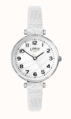 Limit | biały skórzany pasek | tarcza z masy perłowej | 60061.01