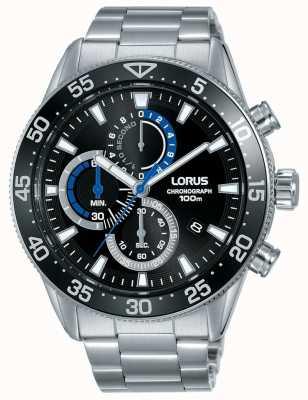 Lorus | chronograf męski | czarna tarcza | bransoleta ze stali nierdzewnej | RM335FX9
