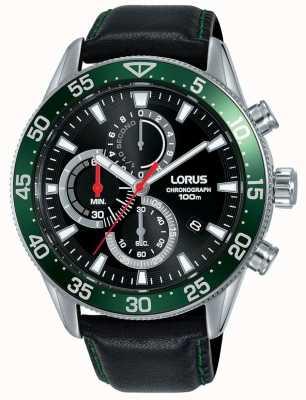 Lorus | chronograf męski | zielona ramka | czarny skórzany pasek | RM347FX9