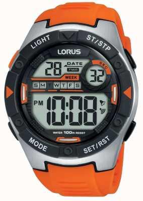 Lorus | męskie sportowe cyfrowe | pomarańczowy pasek gumowy | R2303NX9