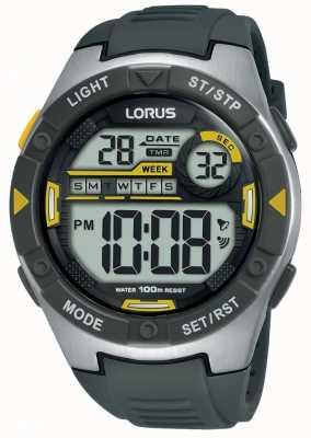 Lorus | męskie sportowe cyfrowe | czarny pasek z gumy | R2397MX9