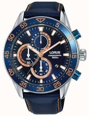 Lorus | chronograf męski | niebieska ramka | niebieska skóra | niebieska tarcza | RM341FX9