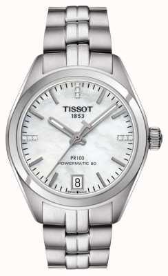 Tissot Damski pr 100 powermatic 80 ze stali nierdzewnej z masy perłowej T1012071111600