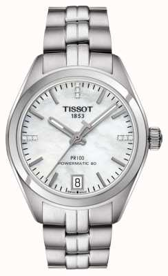Tissot Damska pr 100 masa perłowa powermatic 80 ze stali nierdzewnej T1012071111600