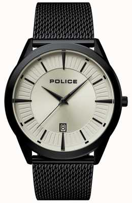 Police | mężczyzna patriota | czarna bransoletka z siatki | beżowa tarcza | 15305JSB/79MM