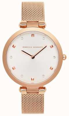 Rebecca Minkoff Nina damska | bransoletka z siateczki w kolorze różowego złota | biała tarcza | 2200301