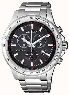 Citizen | męski chronograf eco-drive | czarna tarcza | Stal nierdzewna AT2420-83E