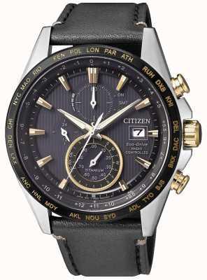 Citizen | męski chronograf ekologiczny eco-drive at | czarny skórzany pasek AT8158-14H