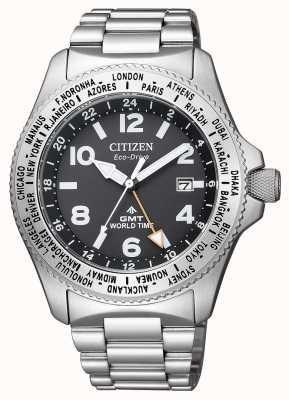 Citizen Męski zegarek eco-drive promaster gmt z czarną tarczą ze stali nierdzewnej BJ7100-82E
