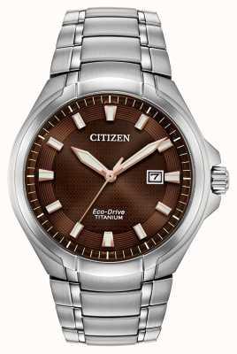 Citizen | męskie eco-drive | bransoletka tytanowa | brązowa tarcza | BM7431-51X