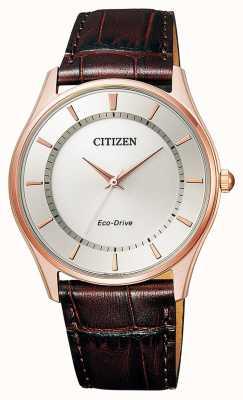 Citizen | męskie eco-drive | brązowy skórzany pasek | srebrna tarcza | BJ6483-01A
