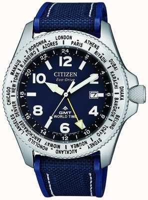 Citizen Męski zegarek eco-drive promaster gmt z niebieską tarczą i płóciennym paskiem BJ7100-15L
