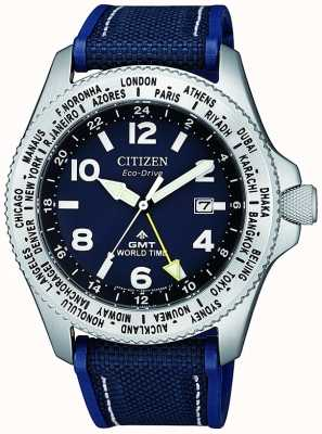 Citizen | męskie eco-drive promaster gmt | niebieska tarcza | niebieski pasek | BJ7100-15L