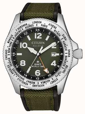 Citizen Męski ekologiczny zegarek promaster gmt z zielonym płóciennym paskiem i zieloną tarczą BJ7100-23X