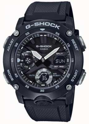 Casio | G-shock węglowa osłona rdzenia | czarny pasek z gumy | GA-2000S-1AER