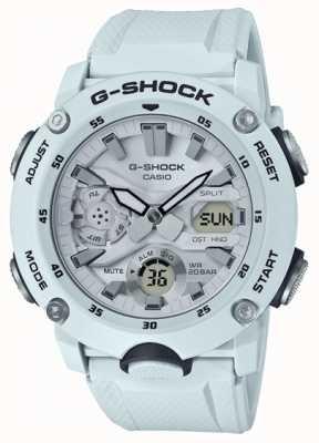 Casio | G-shock węglowa osłona rdzenia | biały pasek z gumy | GA-2000S-7AER