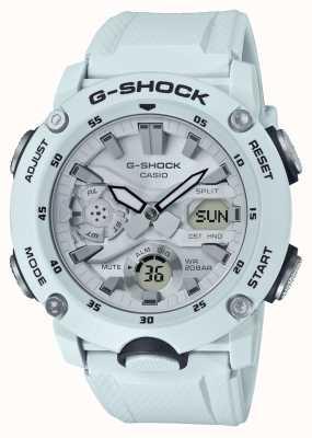 Casio | osłona rdzenia węglowego g-shock | biały gumowy pasek | GA-2000S-7AER